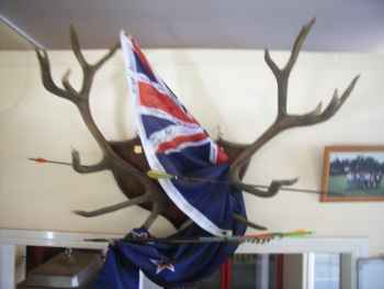 A photo of the The New Zealand flag signed by Massey Club members